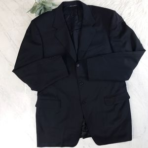 Canali Italy Black Mens Long Suit Blazer Jacket